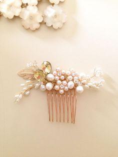 Bridal hair comb fascinator crystals gold pearls by amuandpri, $68.00