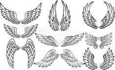 Vector illustration of Cartoon wings collection set Wing Tattoo – Fashion Tattoos Eagle Wing Tattoos, Wing Tattoo Men, Wing Tattoo Designs, Wings On Neck Tattoo, Tattoo Angel Wings, Body Art Tattoos, Small Tattoos, Sleeve Tattoos, Tattoos For Guys
