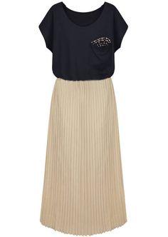 Vestido gasa plisado con aplique beads-Negro EUR17.87 www.sheinside.com