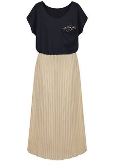 Black Short Sleeve Bead Pleated Chiffon Dress US$23.28