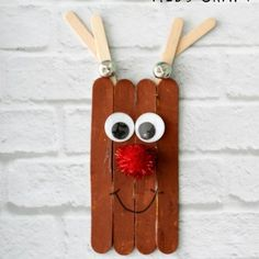 Creat this Rudolph the Red Nose Reindeer Stick Craft For Kids! The perfect Christmas Ornament Craft with Rudolph the red nose reindeer. Popsicle Crafts, Craft Stick Crafts, Preschool Crafts, Kids Christmas Ornaments, Christmas Crafts For Kids, Christmas Fun, Reindeer Craft, Red Nosed Reindeer, Fun Christmas Activities