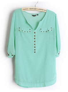 Rivets Chiffon Green Blouse ($19, originally $38) Enjoy 50% off here , show your nice look