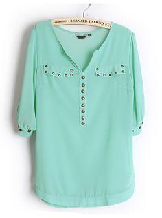 Rivets Chiffon Green Blouse  http://udobuy.com/goods-1881.html#