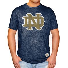 Notre Dame Fighting Irish Original Retro Brand Interlocking School Logo Mock Twist T-Shirt - Navy