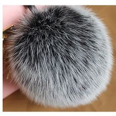 4'' Real Fox Fur Ball Keychain Pom Pom for Women Purse Bag Charms Cute Key Chain­ (Snowtop Black)