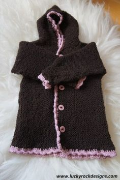 Knitted baby jacket 0-1 year. Knitted in one piece.
