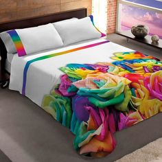 Brilliant bed sheets and comforter, don't know how practical it would be for me though Floral Bedspread, Crochet Bedspread Pattern, Home And Deco, Fabric Painting, Bed Covers, Bed Spreads, Comforter Sets, Bed Sheets, Diy Home Decor