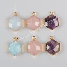 Wholesale 16x14mm Gold Plated Hexagon Multi-Kind Faceted Stones Charm Amethyst…