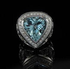 Stunningly beautiful 12.23 Ct aquamarine and 2.00 Ct diamond luxury ring. £4,250.00, via Etsy.