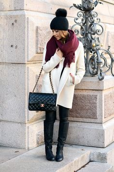 Burgundy ACNE scarf with a black & white winter outfit