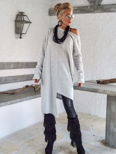 Winter Warm Wool Boucle Dress Tunic / Off White by SynthiaCouture