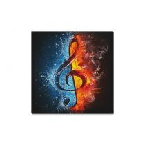 InterestPrint Abstract Music Note with Fire and Water Canvas Wall Art Print Painting Hanging Artwork Stretched and Gallery Canvas Ready to Hang for Home Decorations