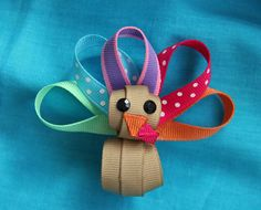 Thanksgiving Turkey Hair Clip Ribbon by CelticTideCreations, $6.50