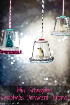 Snowglobes are the quintessential Christmas decoration. Make these super cute DIY snow globe Christmas ornaments with items you can find at the dollar store