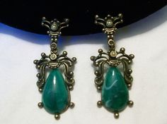 Vintage 1940 Baroque Revival Pearl Green Art Glass Cabochon Brass Earrings #Unbranded #Vintage