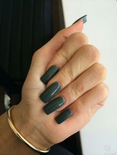 Dark Green Square Tip Nails