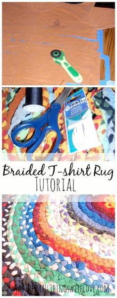 Friday Project: Braided T-Shirt Rag Rug - I Arted Shirt - Ideas of I Arted Shirt - Braided T-shirt rug Tutorial from www.dosmallthings huh I like this Fabric Crafts, Sewing Crafts, Sewing Projects, Craft Projects, Scrap Fabric, Upcycled Crafts, Crochet Braids For Kids, Braided T Shirts, Rag Rug Tutorial
