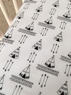 Teepees Crib Sheet, Tribal Nursery, Black and White crib sheet, Explorer Teepee Baby Bedding, Gender Neutral, arrows bedding, designer sheet