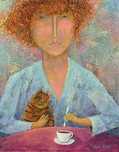 woman drinking coffee with cat, Olga Kost