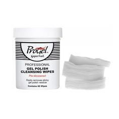 SuperNail ProGel - Pre-Moistened Gel Polish Cleansing Wipes - 65ct. Convenient 2-in-1 product that combines cotton wipes soaked with ProGel's highly effective Gel Cleanser. Wipes the sticky residue that remains after the gel top coat curing process, resulting in beautiful nails with a mirror-like finish. Specially formulated with Vitamin E to cuticles and is less abrasive than traditional alcohol. Pre-Moistened.