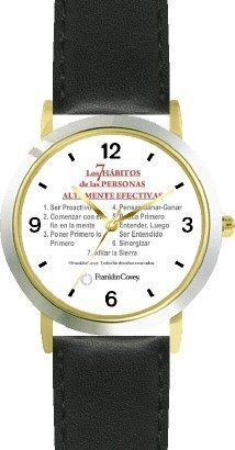 All of THE 7 HABITS #1 (Spanish Text) - DELUXE TWO-TONE WATCH from THE 7 HABITS - WATCH COLLECTION BY WATCHBUDDY® - Arabic Numbers - Black Leather Strap-Size-Children's Size-Small ( Boy's Size & Girl's Size ) WatchBuddy. $49.95. Save 38%!