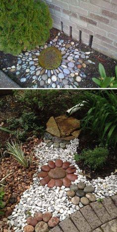 Make an Artistic Pebble Mosaic to Decorate Your Downspout Landscape backyard landscaping landscaping garden landscaping Garden Yard Ideas, Diy Garden, Garden Projects, Patio Ideas, Backyard Ideas, Rock Garden Art, Rock Art, Rock Garden Design, Garden Theme