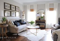 Rental - A New Coffee Table In Our Living Room - Dear Lillie Studio Living Room Interior, Living Room Furniture, Living Room Decor, Living Room Mirrors, Dining Room Walls, Black And White Pillows, White Walls, Woven Shades, Dear Lillie