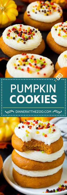 These soft pumpkin cookies bake up light and fluffy, and are topped with a decadent cream cheese frosting and colorful sprinkles. Thanksgiving Desserts Easy, Easy No Bake Desserts, Easy Cookie Recipes, Pumpkin Recipes, Fall Recipes, Dessert Recipes, Soft Pumpkin Cookies, Pumpkin Chocolate Chip Bread, Canned Pumpkin Pie Filling