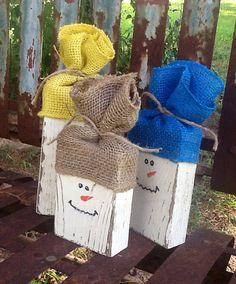 Barn wood shabby chic rustic snowmen with burlap hats  on Etsy, $14.00