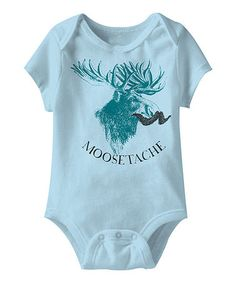 Look what I found on #zulily! Light Blue 'Moosetache' Bodysuit - Infant #zulilyfinds