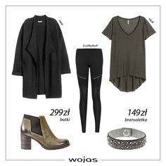 Zielony t-shirt idealnie komponuje się z legginsami i czarnym prostym cardiganem. W stylizacji nie może zabraknąć modnych  sztybletów (464957) oraz bransoletki z kryształkami Swarovski Elements marki Wojas (599389).