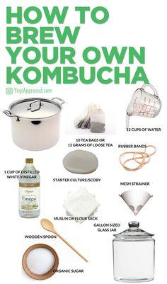 How to Brew Your Own Kombucha Learn How to Brew Kombucha Tea at Home – Here's Everything You Need to Know Make Your Own Kombucha, Kombucha Flavors, Kombucha Scoby, How To Brew Kombucha, Probiotic Drinks, Brew Your Own, Kombucha Benefits, Health Benefits, Ginger Kombucha Recipe