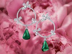 Zarcillos de esmeralda y brillantes