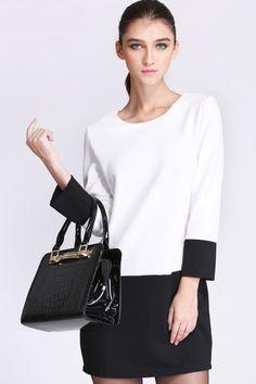 Jacquard Plaid Color Block Dress [FXBI00560] - PersunMall.com