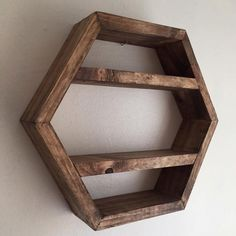 hexagon shelf honeycomb shelf hexagonal shelf by Lovelifewood Geometric Shelves, Honeycomb Shelves, Hexagon Shelves, Decorative Shelves, Ladder Shelf Diy, Hanging Shelves, Display Shelves, Crate Shelves, Rustic Shelves