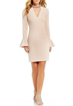 Vince Camuto Long Sleeve Bell Sleeve Choker Sheath Dress