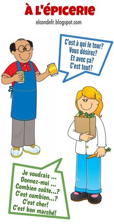 El Conde. fr: À l'épicerie French Expressions, French Language Lessons, French Language Learning, French Lessons, Learn French Fast, How To Speak French, French Verbs, French Grammar, French Teaching Resources