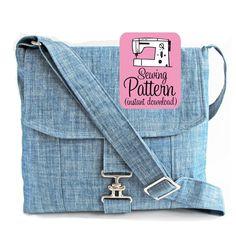 Messenger Bag PDF Sewing Pattern   Cross Body Mail Bag Sewing Pattern PDF…