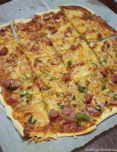 Pizza con masa de cerveza y sin levadura.
