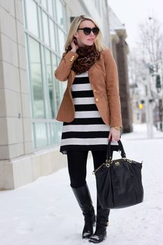 Gold Button Camel Blazer, Leopard Scarf, Striped Tunic, Black Skinnies.