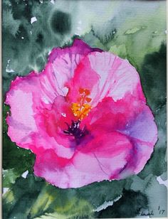 """ORIGINAL WATERCOLOR painting of a """"Pink Flower"""" signed"""