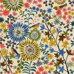 Floral fabric design with birds... Brie Harrison via  loveprintstudio