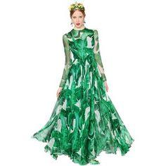 Dolce & Gabbana Women Leaves Printed Silk Chiffon Gown