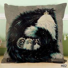 Cute Cartoon Black White Cat Pillow Cushion Cover 45*45 CM