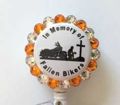 In Memory of Fallen Bikers Badge/ID Holder with Charms/Beads by Lindasbadgeboutique on Etsy