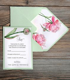 Watercolor  painting Invitation Mint  Wedding by 4LOVEPolkaDots