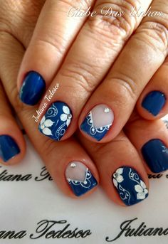 TOP Fotos e Modelos de Unhas Decoradas Spring Nails, Summer Nails, Royal Blue Nails, Finger, Blue Nail Designs, Flower Nail Art, Beautiful Nail Art, Easy Nail Art, Nail Stamping