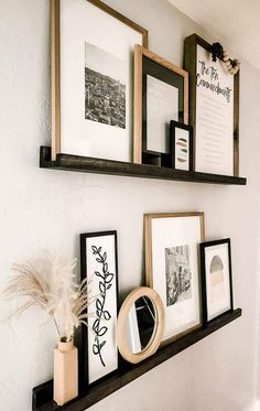 Home Living Room, Living Room Decor, Bedroom Decor, Picture Ledge Shelf, Picture Ledge Bedroom, Ikea Picture Shelves, Photo Shelf, Photo Ledge, Black Picture Frames