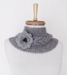 Grey Ivy Neckwarmer with Felt Flower Brooch-Ready by knittingshop