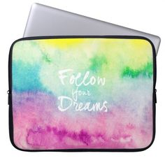 Modern dreams quote typography bright watercolor